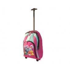 Ghiozdan tip troler Cuccioli pentru fetite 58x33 cm roz