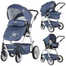 Carucior copii,3 moduri de utilizare,Scoica pentru masina inclusa-Albastru,Destinat 0-15 kg