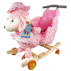 Balansoar Pentru Bebelusi, Catel, Lemn + Plus, Roz, Cu Rotile si maner