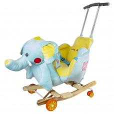 Balansoar Pentru Bebelusi, Elefant, Lemn + Plus, Cu Rotile si maner