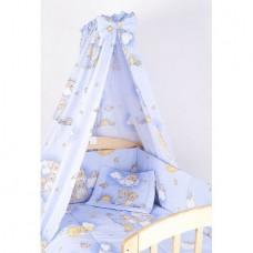 Lenjerie cu baldachin, 6 piese, ursuletul somnoros, albastru, 120x60 cm