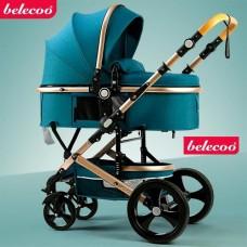 Carucior 2 in 1,Belecoo,cu maner protectie din piele,landou reversibil,geanta pentru accesorii,multifunctional,turquoise