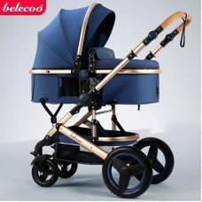 Carucior 2 in 1,Belecoo,cu maner protectie din piele,landou reversibil,geanta pentru accesorii,multifunctional,albastru