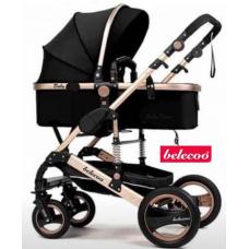 Carucior 2 in 1,Belecoo,cu maner protectie din piele,landou reversibil,geanta pentru accesorii,multifunctional,negru