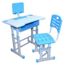 Birou + scaunel, reglabile/albastru/PAL+metal+plastic-Albastru