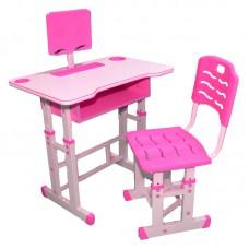 Birou + scaunel, reglabile/roz/PAL+metal+plastic-roz