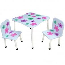 Masuta cu 2 scaunele, MDF+metal/flori