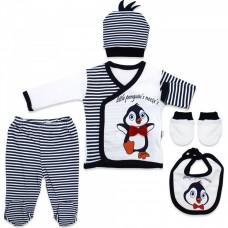 Costumas bebe,5 piese,pinguin