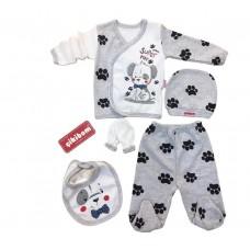 Set 5 piese haine bebelus,0-3 luni,Cikibom,catelus