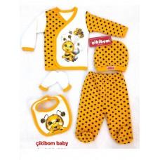 Set 5 piese haine bebelus,0-3 luni,Cikibom albinuta