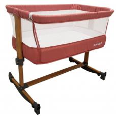 Patut copii transformabil in balansoar bebe,Co-Sleeper ,dimensiuni 84X78X50 cm, 7 trepte de inaltime, saltea inclusa,roz