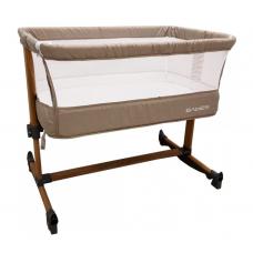 Patut copii transformabil in balansoar bebe,Co-Sleeper ,dimensiuni 84X78X50 cm, 7 trepte de inaltime, saltea inclusa,Bej
