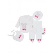 Costum 5 piese pentru nou nascut-fetita