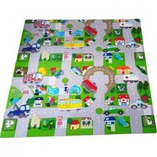 Covor puzzle din burete  traffic carpet  , dimensiuni 120X120 cm, burete fara miros, grosime 1 centimetru, jucarie educativa copii