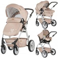 Carucior copii,3 moduri de utilizare,Scoica pentru masina inclusa-Bej,Destinat 0-15 kg