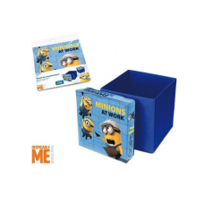 Taburet cu cutie de depozitare pentru jucarii, inscriptionat cu Minioni