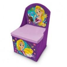 Cutie 2 in 1,Depozitare jucarii si scunel cu spatar,Rapunzel