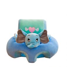 Fotoliu bebe din plus cu spatar si suport de picioare ,elefant albastru