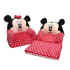 Fotoliu Minnie Mouse Plush 85x45x40cm, negru / roșu / alb,cu bulinute