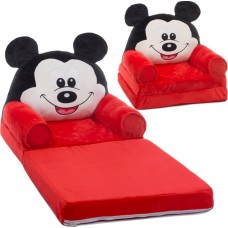 Fotoliu Mickey Mouse Plush 85x45x40cm, negru / roșu / alb