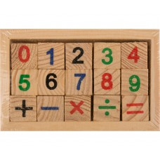 Joc matematic domino realizat din material lemn.