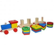 Jucarie educativa trenulet din lemn cu forme geometrice