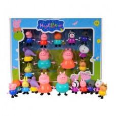 Set 11 figurine Peppa Pig, intreaga familie, multicolor