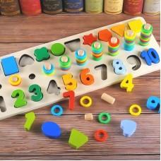 Joc Educativ Din Lemn - Cifre, Cercuri, Forme