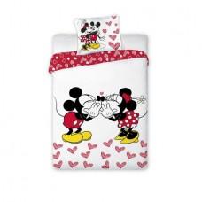 Lenjerie de pat, Minnie si Mickey, inimioare rosii, 160 x 200 cm
