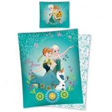 Lenjerie de pat, Anna si Elsa, verde, 140x200cm