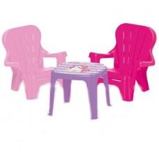 Masuta cu 2 scaunele, roz - Unicorn - Dolu