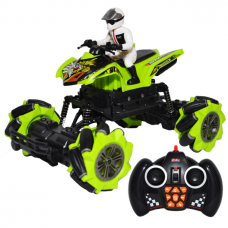 "ATV cu RC, AC, pilot, drift, Roti actionate independent-toarele functii: ""inainte"", ""inapoi"", ""rotire 360grade stanga/dreapta "", ""lateral stanga"", ""lateral dreapta"", ""pilot automat"", ""mod dans"""