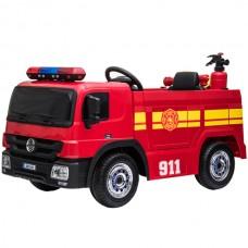 Masina de pompieri cu acumulator, casca de pompier, miniextinctor, furtun de apa, cu rezervor