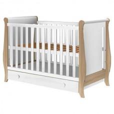 Patut copii din lemn  Mira 120x60 cm alb-natur cu sertar