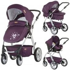 Carucior copii,3 moduri de utilizare,Scoica pentru masina inclusa-Mov,Destinat 0-15 kg