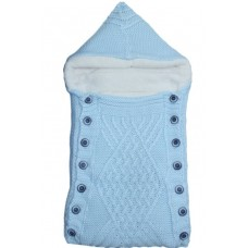Port bebe imblanit,tricotat,albastru