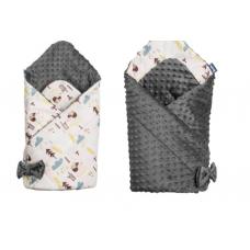 Paturica nou-nascut Sensillo Minky Wrap 2 fete,Forest Dark Grey 80x80 cm