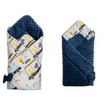 Paturica nou-nascut Sensillo Minky Wrap 2 fete,Zoo Navy Blue 80x80 cm