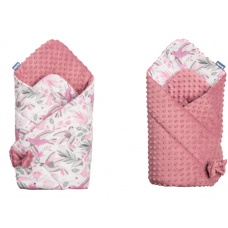 Paturica nou-nascut Sensillo Minky Wrap 2 fete,Colliber Retro Pink 80x80 cm