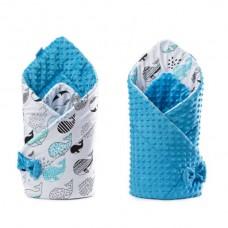 Paturica nou-nascut Sensillo Minky Wrap 2 fete,albastra 80x80 cm