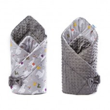 Paturica nou-nascut Sensillo Minky Wrap 2 fete,gri 80x80 cm