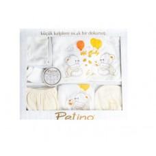 Set 10 piese nou nascut si bebelusi, Petino, 0-3 luni, alb/galben