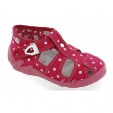 Sandale roz cu bulinute,ortopedice,brant de piele detasabil