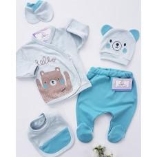 Set nou nascut 5 piese-ursulet albastru