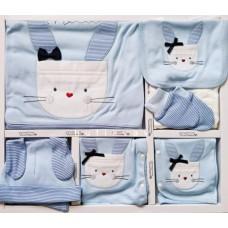 Set cadou Bebelusi/Nou-Nascut, imprimeu motanel, TONTON, 0-4 luni, 10 piese, Bumbac 100% anti-alergic,alb albastru