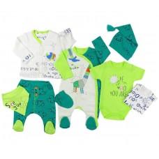 Set 8 piese hainute bebe,alb-verde
