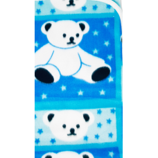 Păturică polar bebe, 74x74 cm, ursuleti, albastru