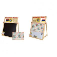 Tabla de scris-Cu doua fete-Din lemn,Activitati educative,Cifre si litere magnetice,incluse,Numaratoare si ceas
