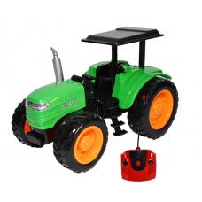 Tractor Farmer cu telecomanda si acumulator , Verde/Negru , lungime 22 cm