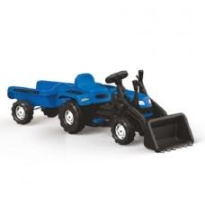 Tractor Dolu excavator cu pedale si remorca Ranchero , Albastru/Negru